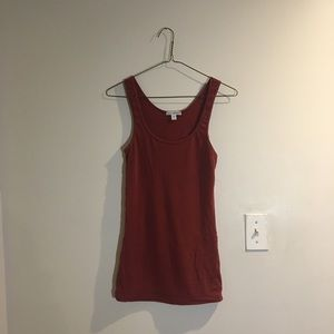 James Perse Long Jersey Tank - Brick Red - Size S